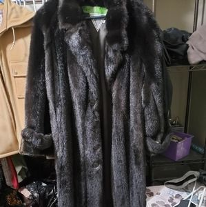 Marvin Richards Women's Faux Fur Black A-Line Coat